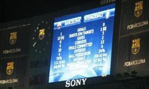 Tabellone Barcellona-Inter