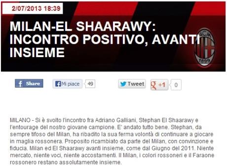 El Shaarawy comunicato